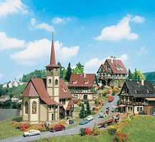 Vollmer Church w/Three Half Timbered Houses Kit N Scale Model Railroad Building #47734