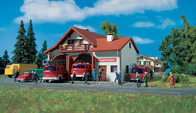 Vollmer Fire Station Kit N Scale Model Railroad Building #47785