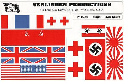 Verlinden Productions WWII Flag Assortment Set I -- Plastic Model Detailing Accessory -- 1/35 Scale -- #1956