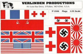 Verlinden WWII Flag Assortment Set I Plastic Model Detailing Accessory 1/35 Scale #1956