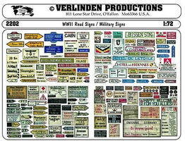 Verlinden Road & Military Signs WWII Plastic Model Military Decal 1/72 Scale #2202