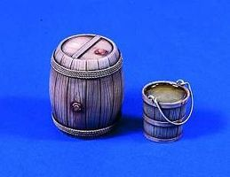 Verlinden 120mm Wooden Barrel & Bucket Plastic Model Detailing Accessory Kit 1/16 Scale #643