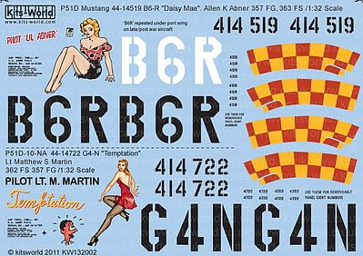 Warbird P51D Daisy Mae, Temptation Plastic Model Aircraft Decal 1/32 Scale #132002