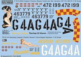 Warbird P51D Passion Wagon Early/Late War Plastic Model Aircraft Decal 1/32 Scale #132003