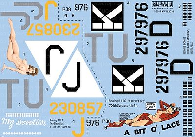 Warbird B17F/G My Devotion, A Bit O Lace Plastic Model Aircraft Decal 1/32 Scale #132016