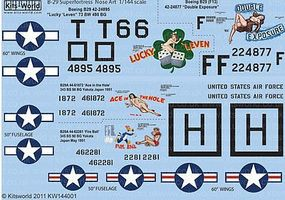 Warbird B29 Superfortress Nose Art Plastic Model Aircraft Decal 1/144 Scale #144001