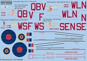 Warbird Avro Lancaster Victorious Virgin, Nan, Fanlight Fanny, No Not Now Decal 1/144 Scale #14400