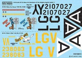 Warbird B17Gs Mighty 8th AF Hikin for Home, Man O War Model Aircraft Decal 1/48 Scale #148013