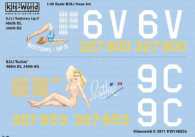 Warbird B25J Bottoms-UP II, Ruthie Plastic Model Aircraft Decal 1/48 Scale #148034