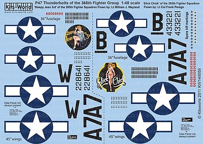 Warbird P47D Sleepy Jean the 3rd, Slick Chick Plastic Model Aircraft Decal 1/48 Scale #148059