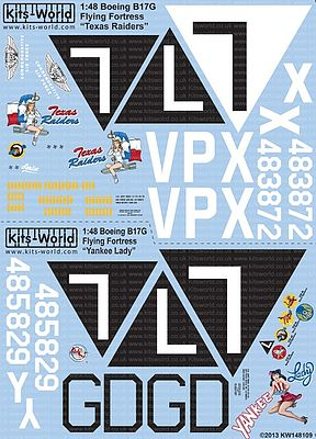Warbird Decals B17G Texas Raiders, Yankee Lady -- Plastic Model Aircraft Decal -- 1/48 Scale -- #148109