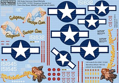 Warbird B25J Gorgeous George Ann/There She Blows, Marvellous Miriam Aircraft Decal 1/48 #148111
