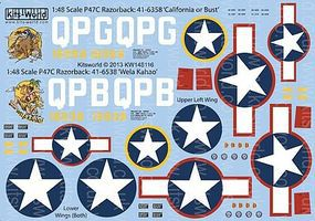 Warbird P47C California or Bust, Wela Kahao Plastic Model Aircraft Decal 1/48 Scale #148116