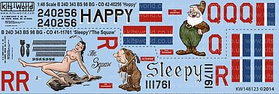 Warbird B24D Happy, Sleepy, The Squaw Plastic Model Aircraft Decal 1/48 Scale #148123