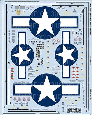 Warbird Decals B17G Stars & Bars, General Stenciling, Cockpit Instrumentation & Walkways -- 1/48 -- #148128