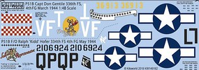 1/48 P51B Capt Gentile 336th March 1944, Ralph Kidd Hofer May 1944