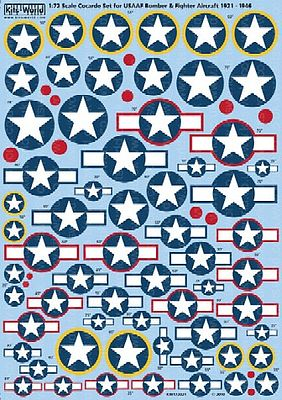 Warbird Decals 1/72 Cocarde Stars & Bars for USAAF Bombers & Fighters 1921-1946