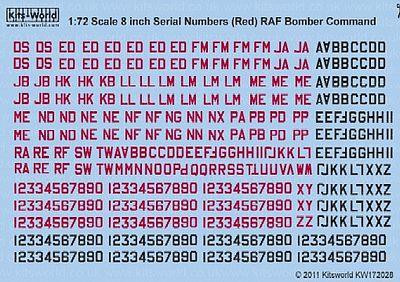 Warbird Decals 1/72 8'' Serial Numbers RAF Bomber Command Red & Black