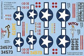 Warbird B25H Powerhouse, Dutch Plastic Model Aircraft Decal 1/72 Scale #172088