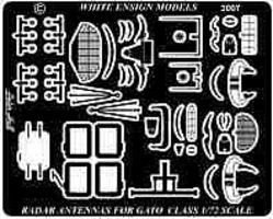 White-Ensign Gato Class Submarine Radars & Antennas Detail Set Plastic Model Ship Accessory 1/72 #7241
