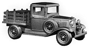 Wheel-Works 1934 Ford Small Stake Truck w/Plastic Stake Bed Kit HO Scale Model Vehicle #96109