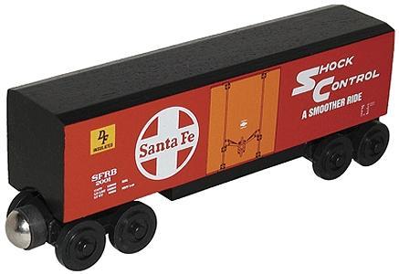 Whittle Wooden Toy Train Hi Cube Box Car Santa Fe Red