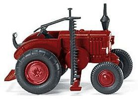 Wiking Lanz Bulldog Farm Tractor w/Side Cutter Bar - Assembled Red, Black - N-Scale