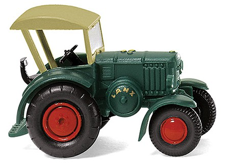 Wiking 1936 Lanz Bulldog Farm Tractor - Assembled Yelow, Red - N-Scale