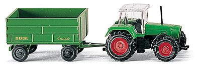 Wiking Farm Machinery Fendt Tractor with Trailer -- N Scale Model Railroad Vehicle -- #96001
