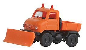 Wiking Unimog U 411 Snow Plow Assembled Orange N Scale Model Railroad Vehicle #97203