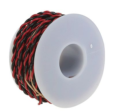 Wire Works #20 Gauge 2-Conductor Hookup Wire 25' (black & red) -- Model Railroad Hook-Up Wire -- #220100250