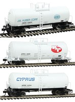 WKW 40' 16,000-Gallon Funnel-Flow Tank Car 3-Car Set Set A- Cyprus AMMX #14204, KT Clays AMMX #14020 & J. M. Huber #69011