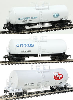 WKW 40 16,000-Gallon Funnel-Flow Tank Car 3-Car Set Set B- Cyprus AMMX #14204, KT Clays AMMX #14237 & J. M. Huber #69014