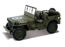 Welly-Diecast 1/4-Ton US Army Jeep (Green) Diecast Model 1/18 Scale #18036