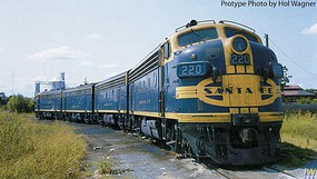 WalthersMainline EMD F7A w/SoundTraxx(R) Sound & DCC Santa Fe #1 (blue, yellow, Cigar Band Logo)