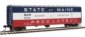 WalthersMainline 50' PC&F Insulated Boxcar Ready to Run Bangor & Aroostook #6336 (State of Maine, silver, red, white, blue)