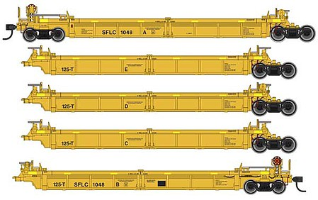 WalthersMainline Thrall 5-Unit Rebuilt 40 Well Car - Ready to Run Santa Fe Leasing SFLC #1010 A-E (yellow, black, yellow conspicuity stripes)