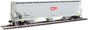 WalthersMainline 60' NSC 5150 3-Bay Covered Hopper Ready to Run Canadian Pacific #650026 (gray, black, centered red CP block logo, yellow cons