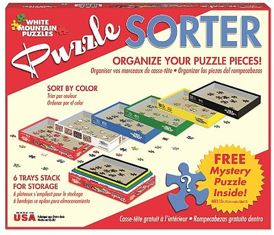 White Mountian Puzzles Puzzle Sorter- 6 Stackable Trays to Organize Pieces plus Mystery Puzzle