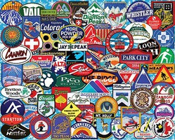 WhiteMount Ski Badges Collage Puzzle (1000pc)