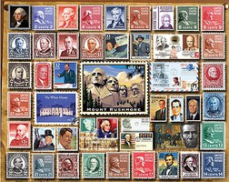 WhiteMount Presidential Stamps Collage Puzzle (1000pc)