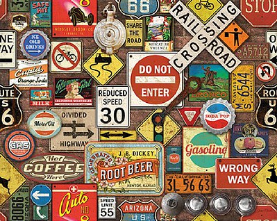 White Mountian Puzzles Road Trip Highway Signs Collage Puzzle (1000pc)