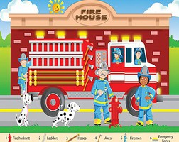 WhiteMount Fire Fighters Floor Puzzle Ages 3+ (24 Jumbo pc)