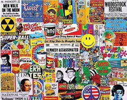 WhiteMount Life in the 60s Iconic Fads & Facts Collage Puzzle (1000pc)