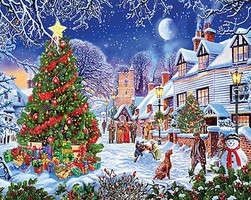 WhiteMount Village Christmas Tree Puzzle (1000pc)