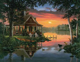 WhiteMount Friends in Summer (Cabin/Lake/Canoe/Dogs) Puzzle (1000pc)