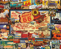 WhiteMount Route 66 Collage (Travel Signs, Map/Places) Puzzle (1000pc)