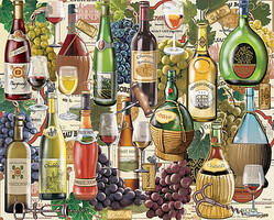 WhiteMount Wine Country (Bottles) Collage Puzzle (1000pc)