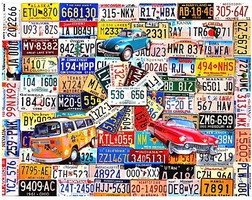 WhiteMount License Plates Collage Puzzle (1000pc)