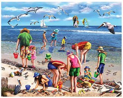 WhiteMount Shell Seekers (People on the Beach) Puzzle (550pc)